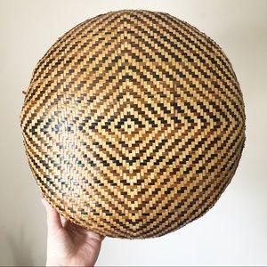 Vintage Large Woven Wicker Wall Basket Boho Decor